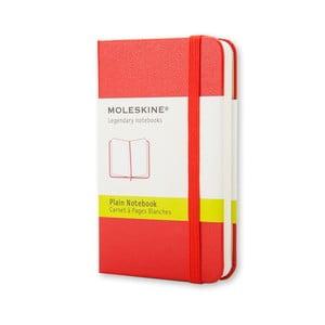 Červený zápisník Moleskine XS, bezlinajok