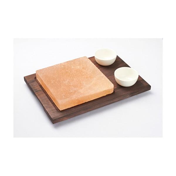 Servírovací podnos so soľnou doskou a miskami Salt Plate, 38 × 27 cm