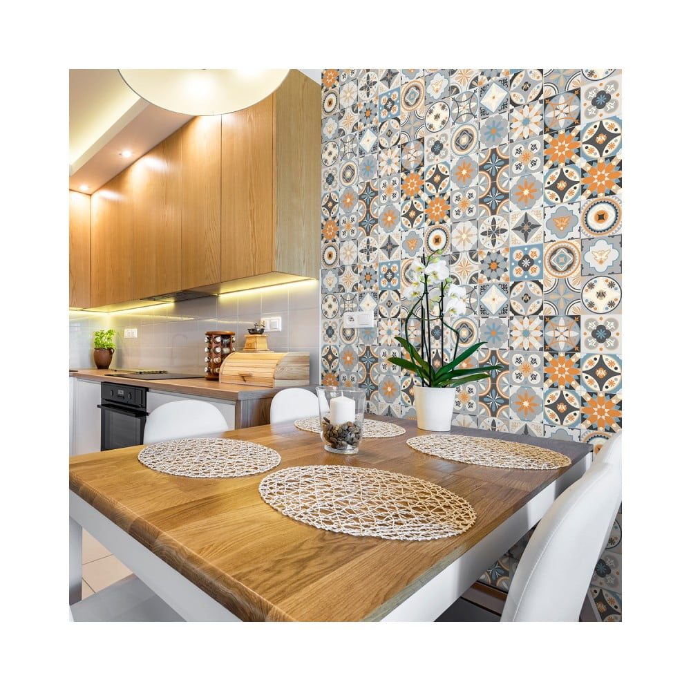 Sada 30 nástenných samolepiek Ambiance Wall Stickers Cement Tiles Azulejos Montecinos, 10 × 10 cm