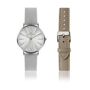 Set dámskych hodiniek z antikoro ocele a sivého remienka z pravej kože Frederic Graff Monte