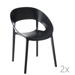Sada 2 čiernych stoličiek J-Line Lola