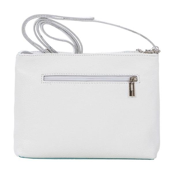 Kožená kabelka Francesco, biela/modrá