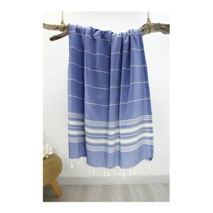 Modrá osuška z čistej bavlny Hammam Yenge Style, 90 x 180 cm