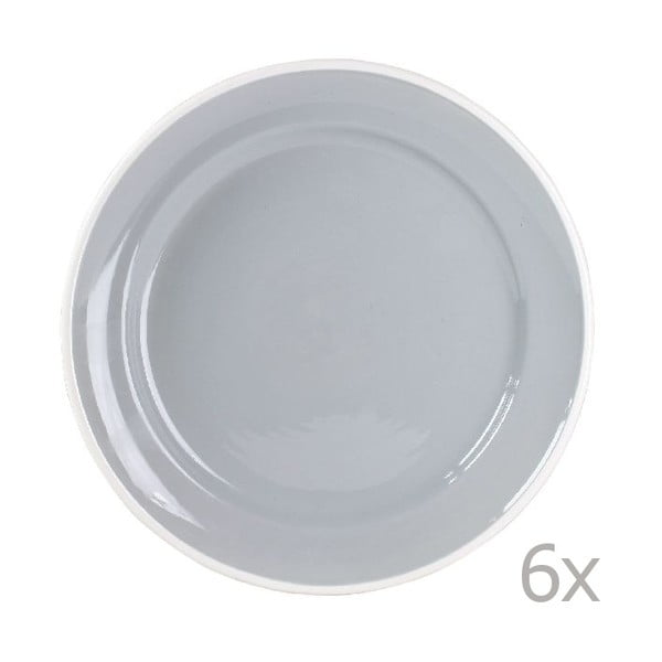 Sada 6 tanierov Puck 26.5 cm, sivá