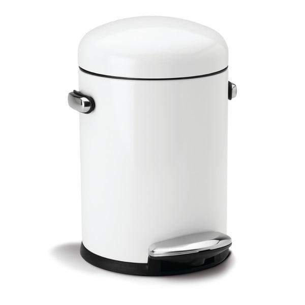 Biely pedálový kôš simplehuman Retro 4.5 l