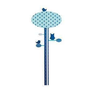 Nástenné detské modré meradlo výšky Sebra Blue Tree, až do výšky 130 cm