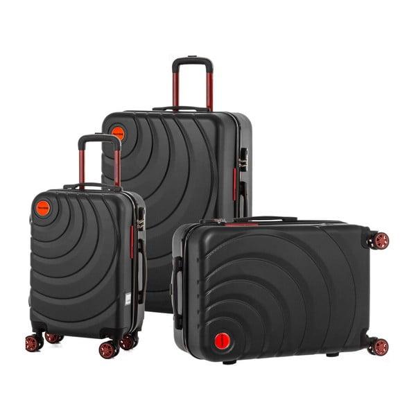 Sada 3 čiernych cestovných kufrov Murano Manhattan