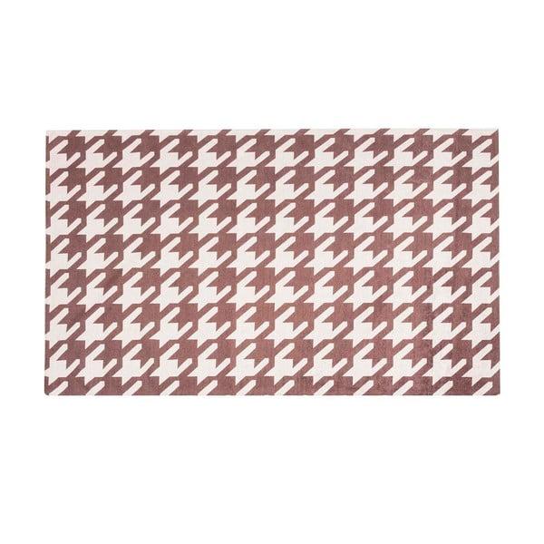 Vysokoodolný kuchynský koberec Pied de Poule Brown, 60x150 cm
