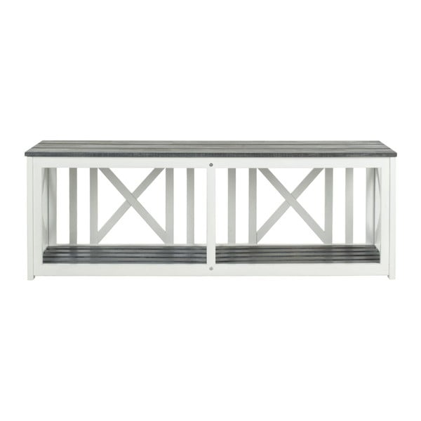 Bielo-sivá vonkajšia drevená lavica Safavieh Branco Grey