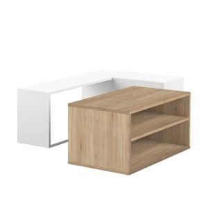 Dvojdielny biely konferenčný stolík s detailom v dekore dubového dreva Symbiosis Angle