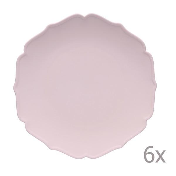 Sada 6 hlbokých tanierov Glamour Rosa