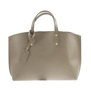 Sivobéžová kožená kabelka Chicca Borse City