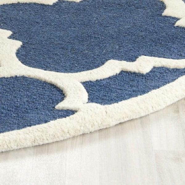 Vlnený koberec Clark Blue, 91x152 cm