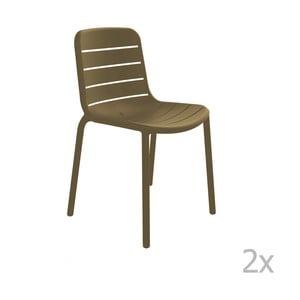 Sada 2 hnedých záhradných stoličiek Resol Gina