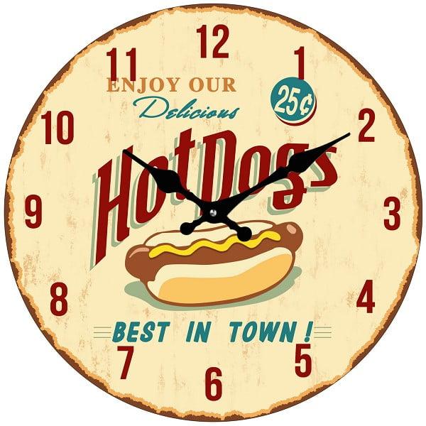Sklenené hodiny Hot Dog, 34 cm