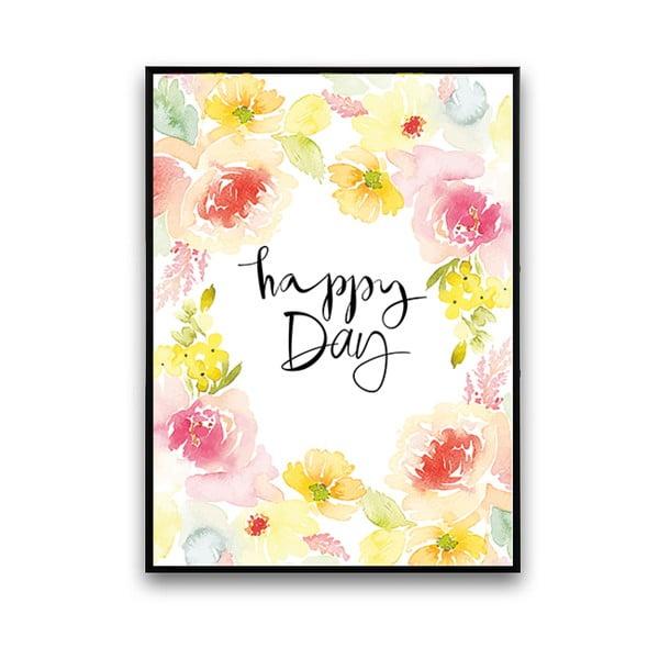 Plagát s abstraktnými kvetmi Happy Day, 30 x 40 cm