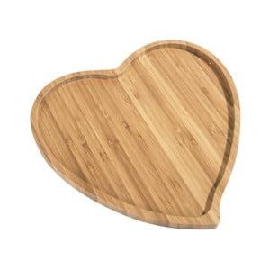 Bambusová doštička na servírovanie Aminda Heart, šírka 27 cm