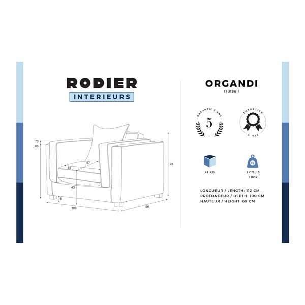 Modré kreslo s krémovými lemami Rodier Organdi