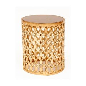 Odkladací stolík v zlatej farbes doskou z mangového dreva Miloo Home Coco