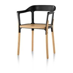Čierno-hnedá jedálenská stolička Magis Steelwood