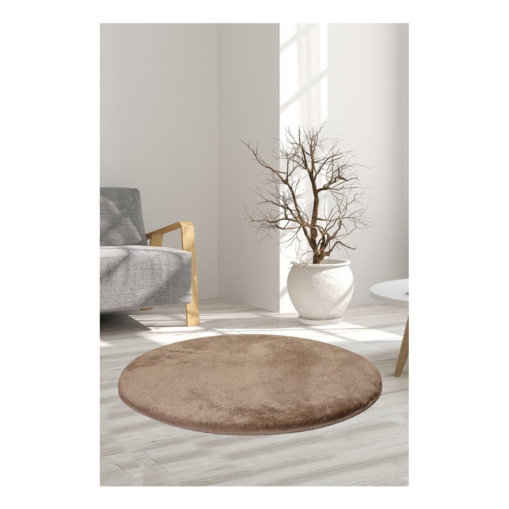 Svetlohnedý koberec Milano, ⌀ 90 cm