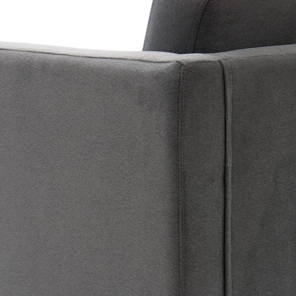 Svetlosivá trojmiestna pohovka VIVONITA Sondero, pravá strana a čierne nohy