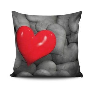 Vankúš s prímesou bavlny Calento Heart, 45 × 45 cm
