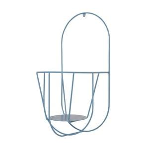Modrý nástenný držiak na kvetináče OK Design, výška 46 cm