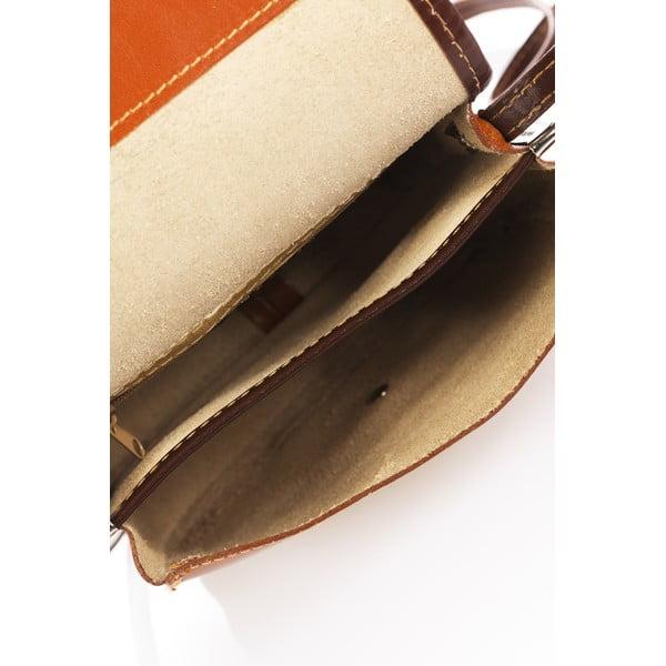 Koňakovohnedá kožená kabelka Lisa Minardi Laura
