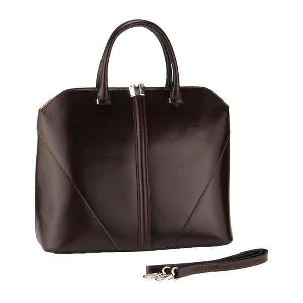 Kožená kabelka Mango, tm. hnedá