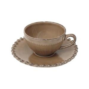Kakaovohnedý kameninový hrnček s tanierikom Costa Nova Pearl, objem 70 ml