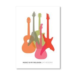 Autorský plagát Music is my Religion Hendrix