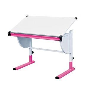 Ružovo-biely nastaviteľný písací stôl 13Casa Beckett