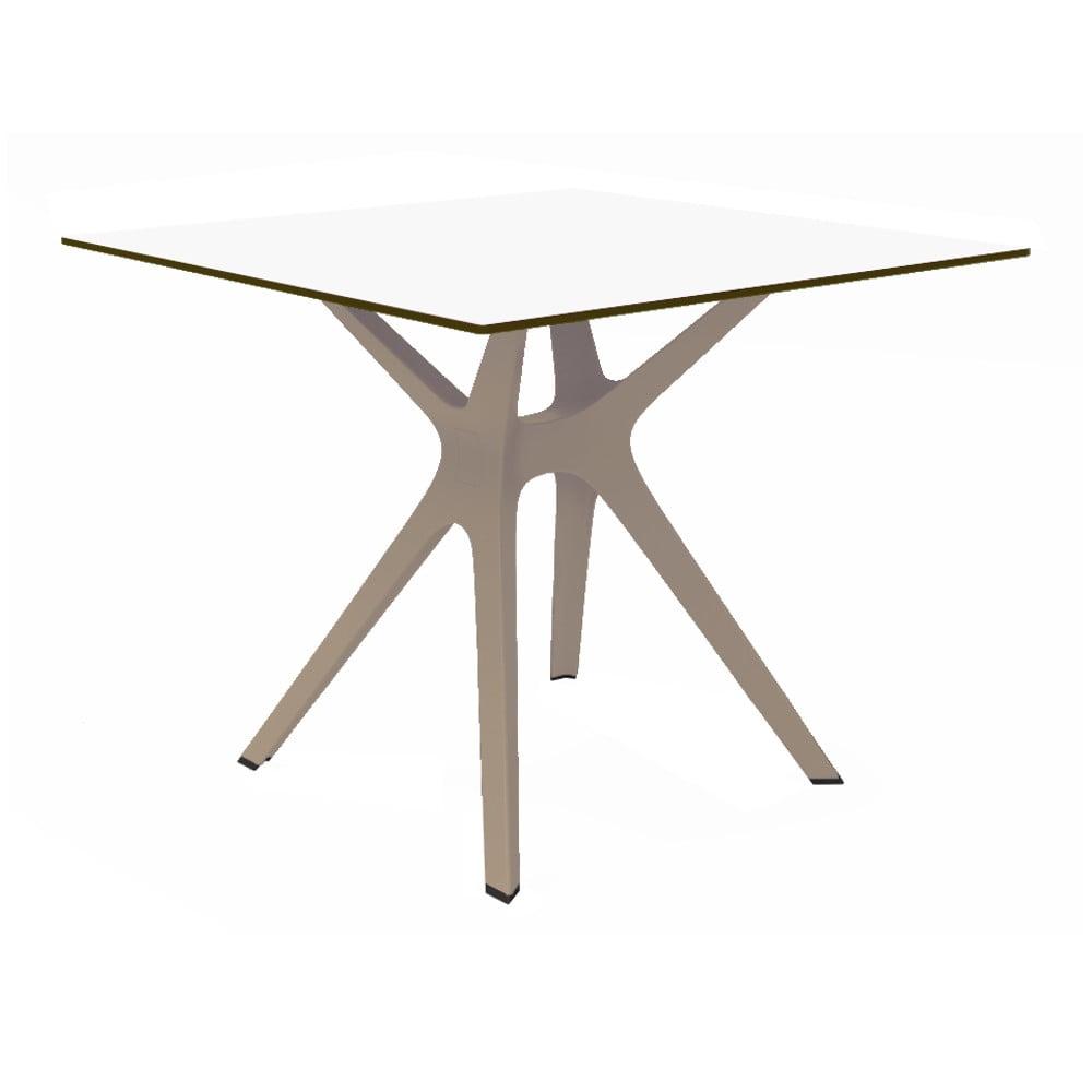 Jedálenský stôl s hnedými nohami a bielou doskou vhodný do exteriéru Resol Vela, 90 × 90 cm