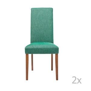 Sada 2 zelených jedálenských stoličiek s podnožou z bukového dreva Kare Design Rhytm