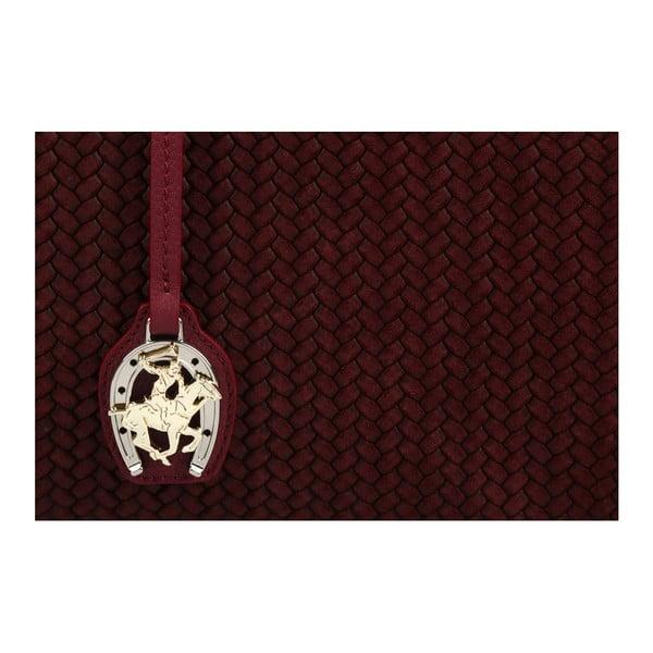 Tmavočervená kožená kabelka Beverly Hills Polo Club Dona