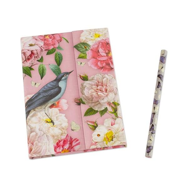 Linajkový vreckový zápisník A6 s ceruzkou Botanique by Portico Designs, 128stránok