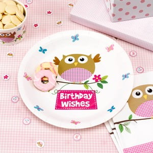 Sada 8 papierových tanierov Neviti Little Owls Pink