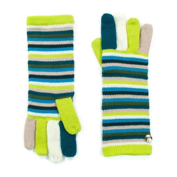 Zelené pruhované rukavice Bella