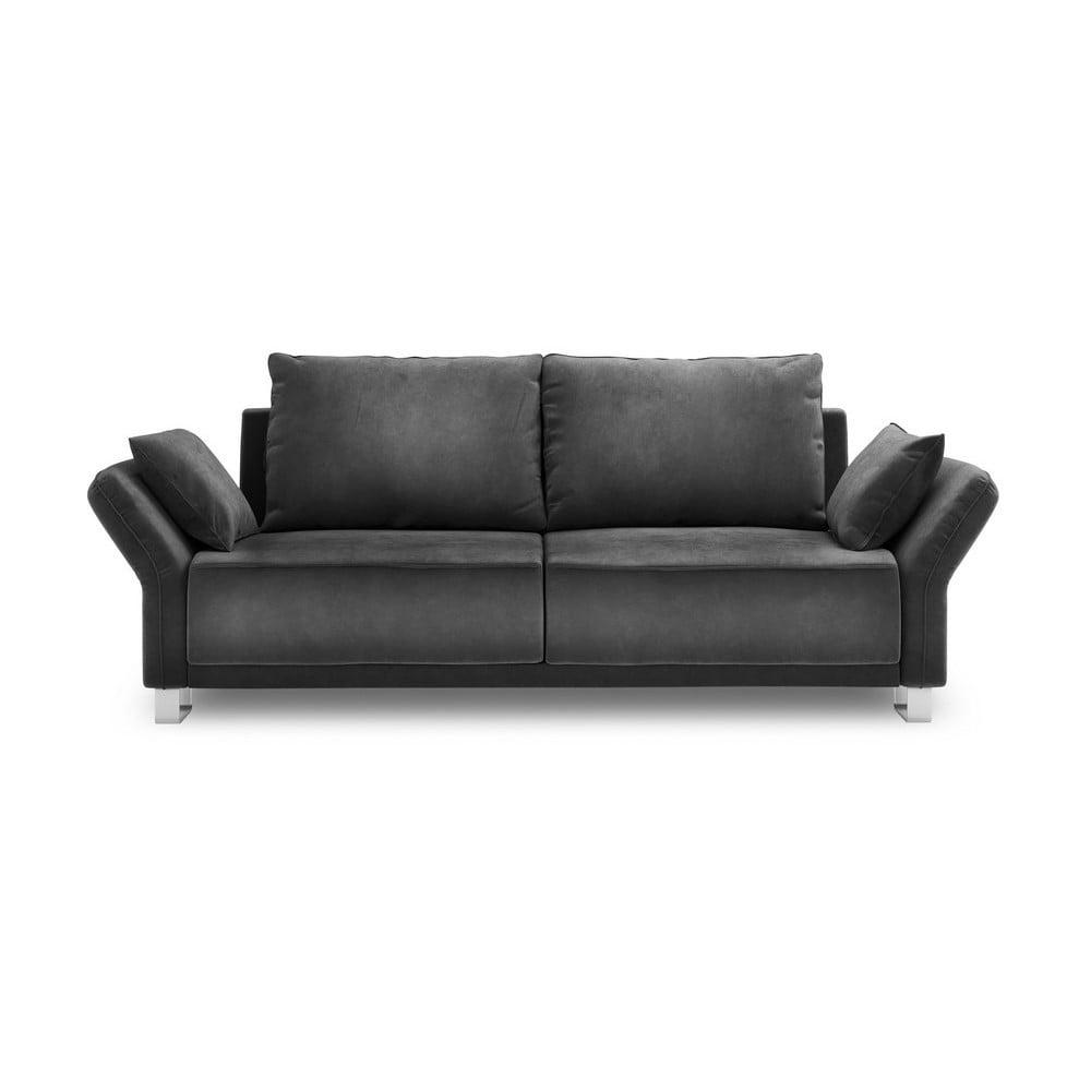 Tmavosivá trojmiestna rozkladacia pohovka so zamatovým poťahom Windsor & Co Sofas Pyxis