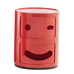 Červený kontajner s 2 zásuvkami Kartell Componibili Blink