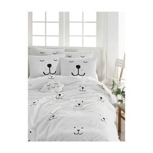 Obliečky s plachtou na dvojlôžko z ranforce bavlny Mijolnir Eles White, 200 × 220 cm