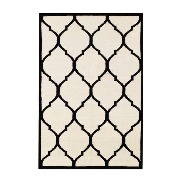 Ručne tkaný koberec Lara Ivory Black, 140x200 cm