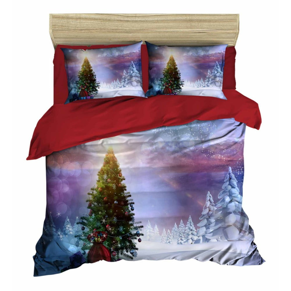 Vianočné obliečky na dvojlôžko s plachtou Gabriele, 160×220 cm