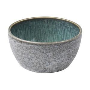 Sivá kameninová miska s vnútornou glazúrou v zelenej farbe Bitz Mensa, priemer 10 cm