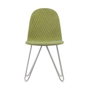 Svetlozelená stolička s kovovými nohami IKER Mannequin X Stripe