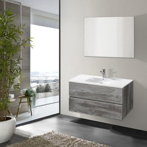 Kúpeľňová skrinka s umývadlom a zrkadlom Flopy, vintage dekor, 80 cm