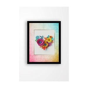 Nástenný obraz na plátne v čiernom ráme Tablo Center Love Flowers, 29 × 24 cm