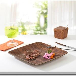 Hnedý hranatý tanier Evelin, 23,5 x 23,5 cm