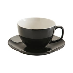 Čierny hrnček s tanierikom z kameniny Price & Kensington Rage